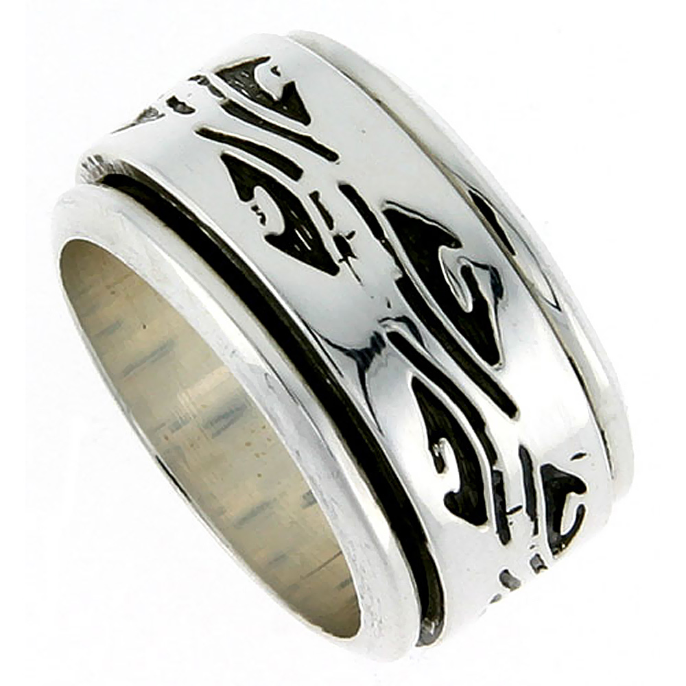 13mm Sterling Silver Mens Spinner Ring Native American Pattern Handmade 1/2 inch wide,