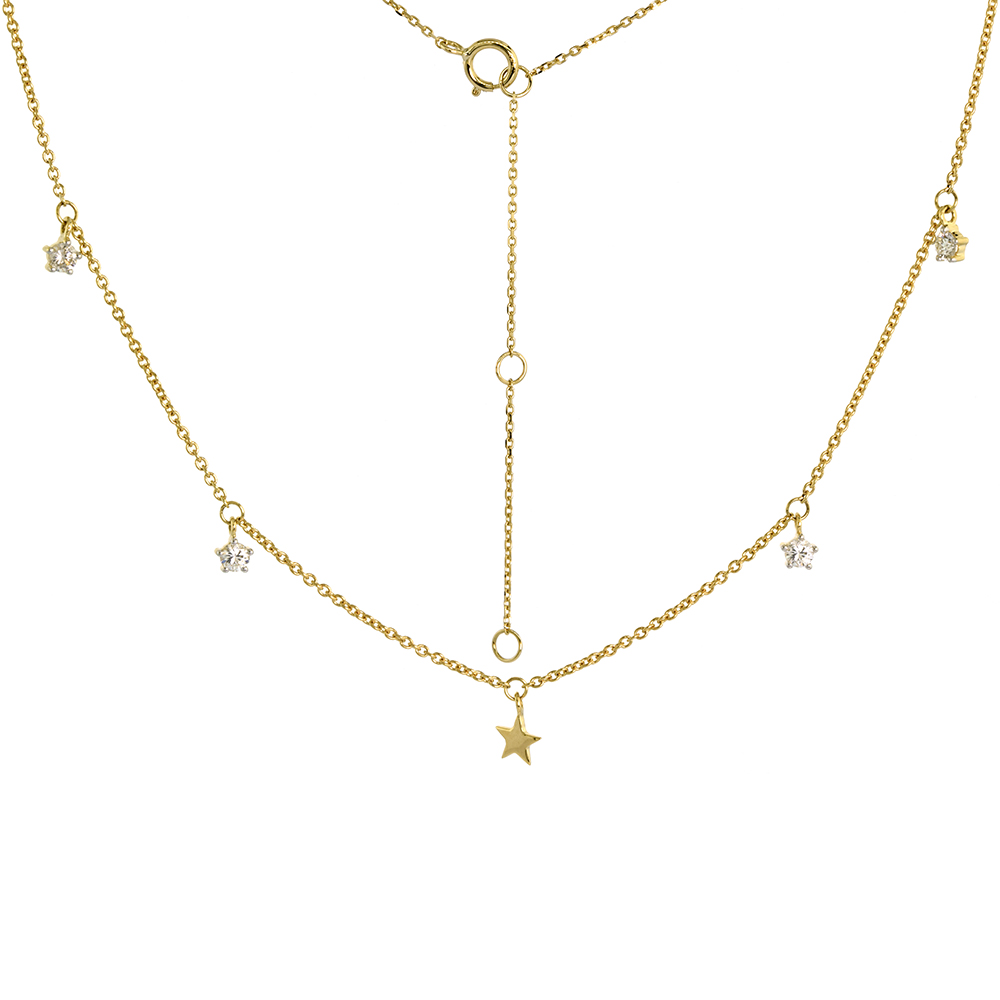 Dainty 14k Yellow Gold Dangling Star Necklace Genuine Diamonds 16-18 inch