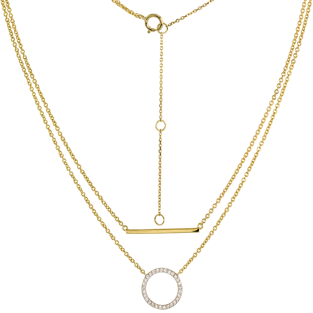 Dainty 14k Yellow Gold Diamond Karma Circle and Bar Double Layered Necklace for Women 0.13 ct 16 -18 inch