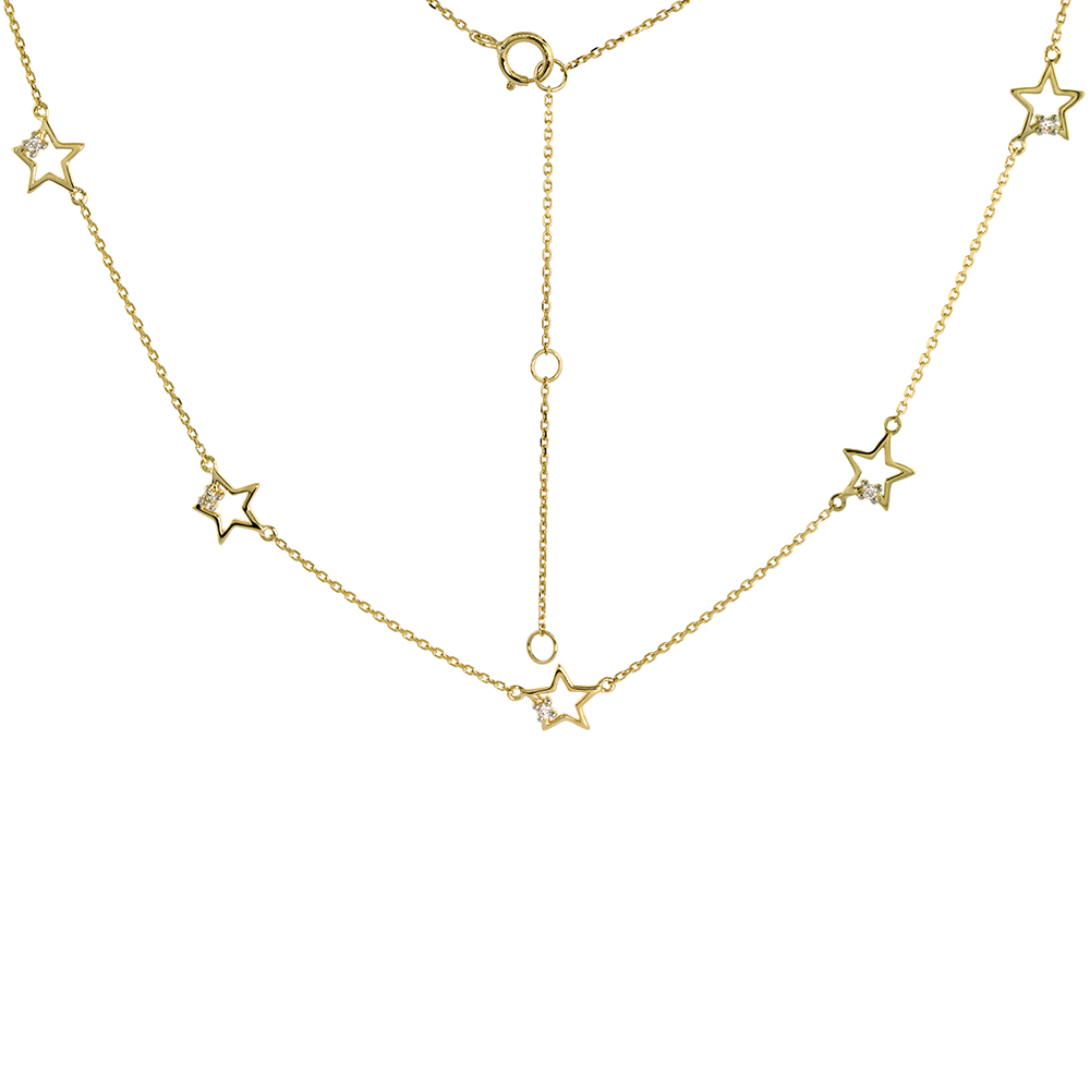 Dainty 14k Yellow Gold Diamond Star Station Necklace 16-18 inch