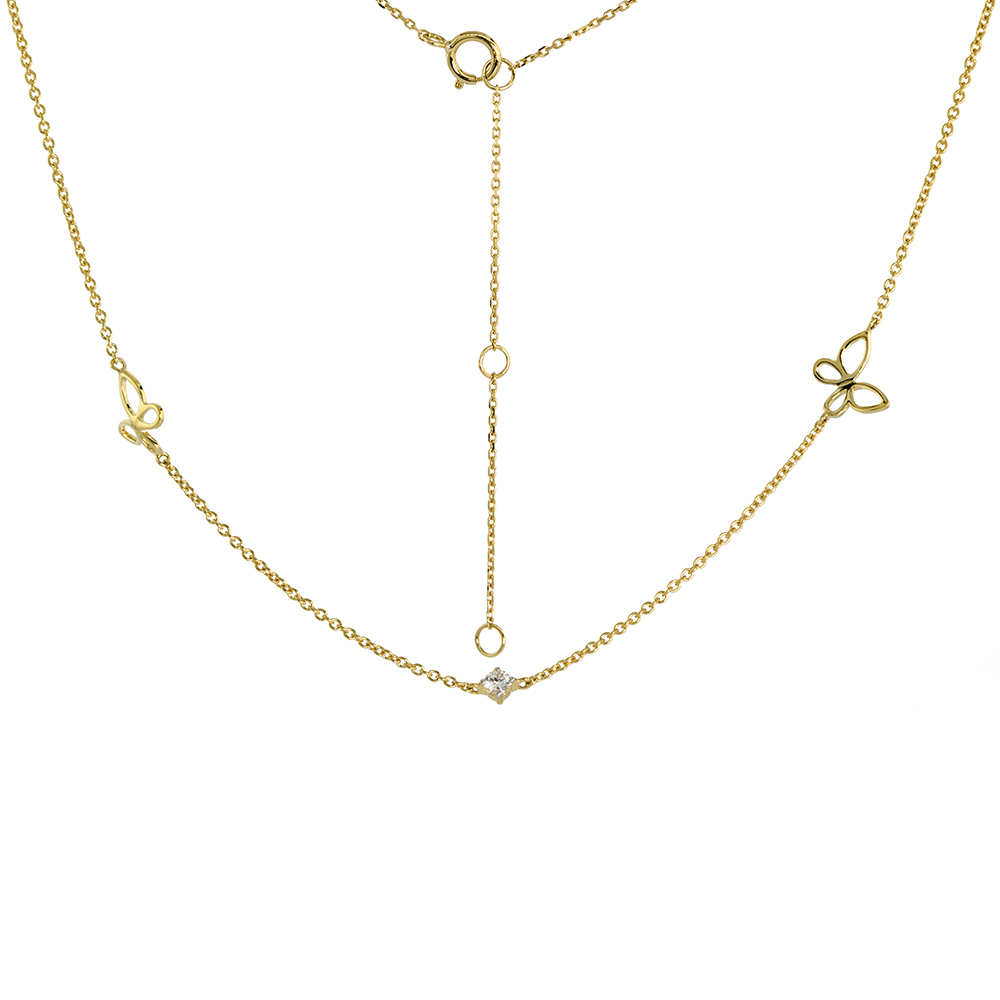 Dainty 14k Yellow Gold Genuine Diamond & Butterfly Station Necklace 16-18 inch