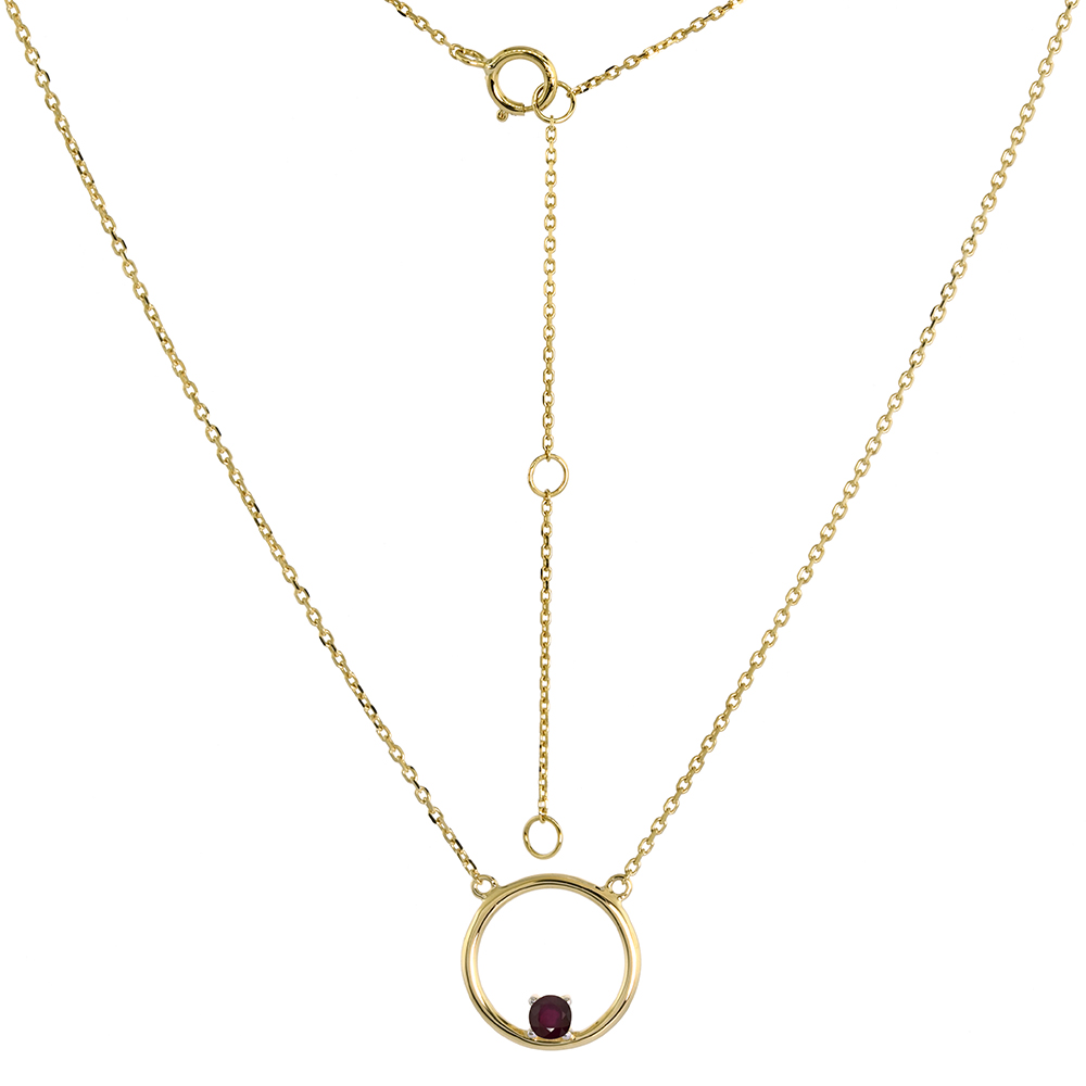 14k Yellow Gold Open Circle Necklace Karma Circle of Life Genuine Ruby 16-18 inch