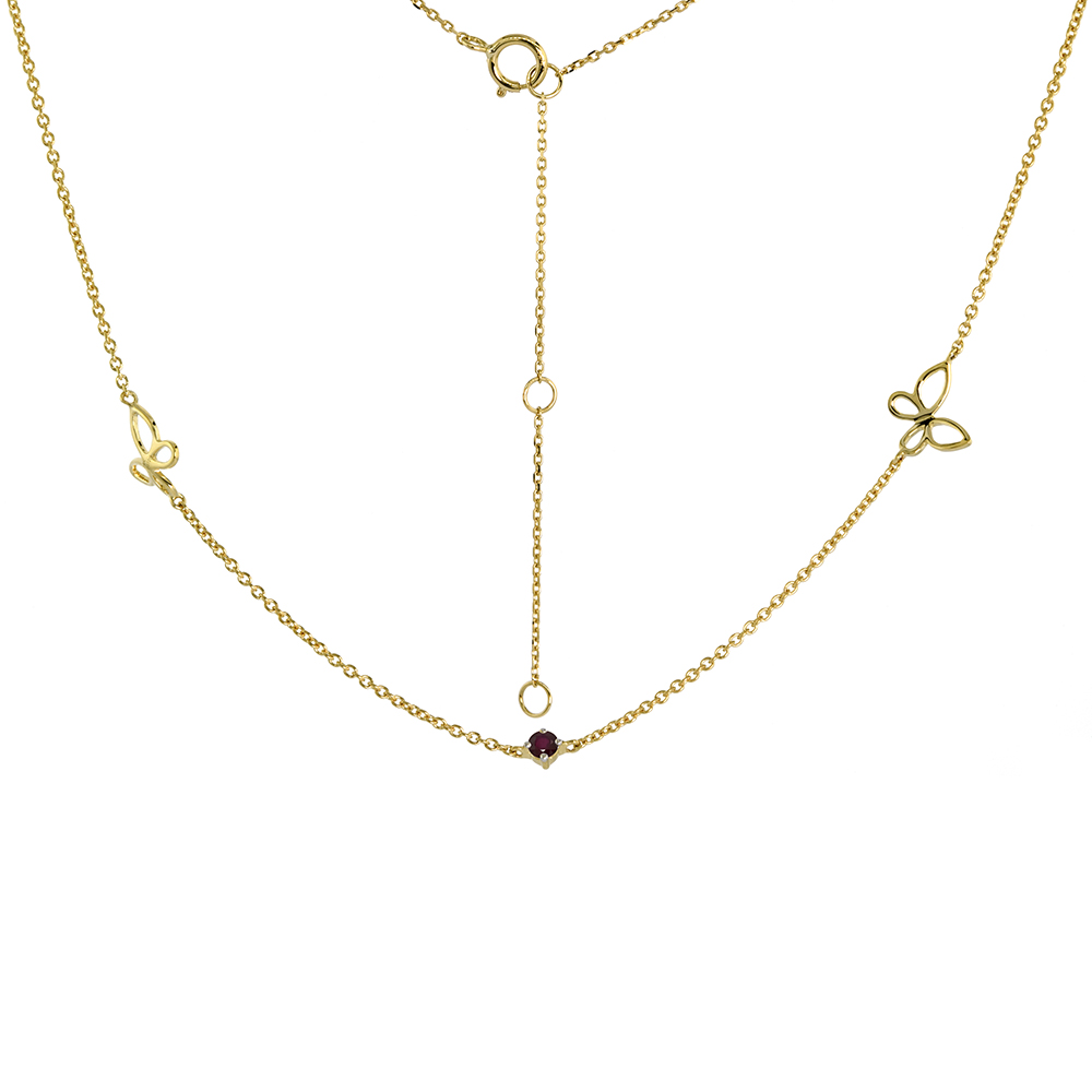 Dainty 14k Yellow Gold Genuine Ruby & Butterfly Station Necklace 16-18 inch