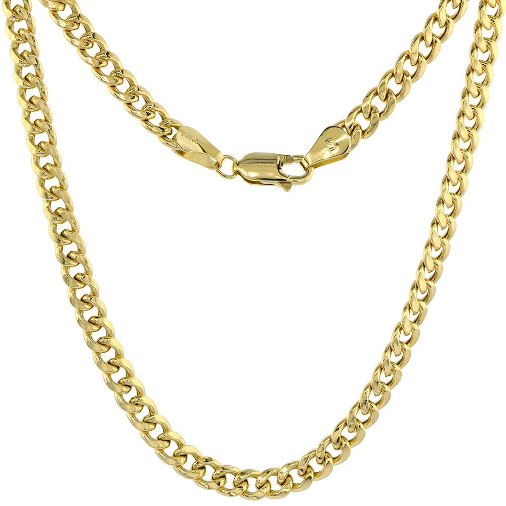Hollow 14k Gold 4.5mm Miami Cuban Link Chain Necklace for Men & Women High Polished 7 8 18-30 inch