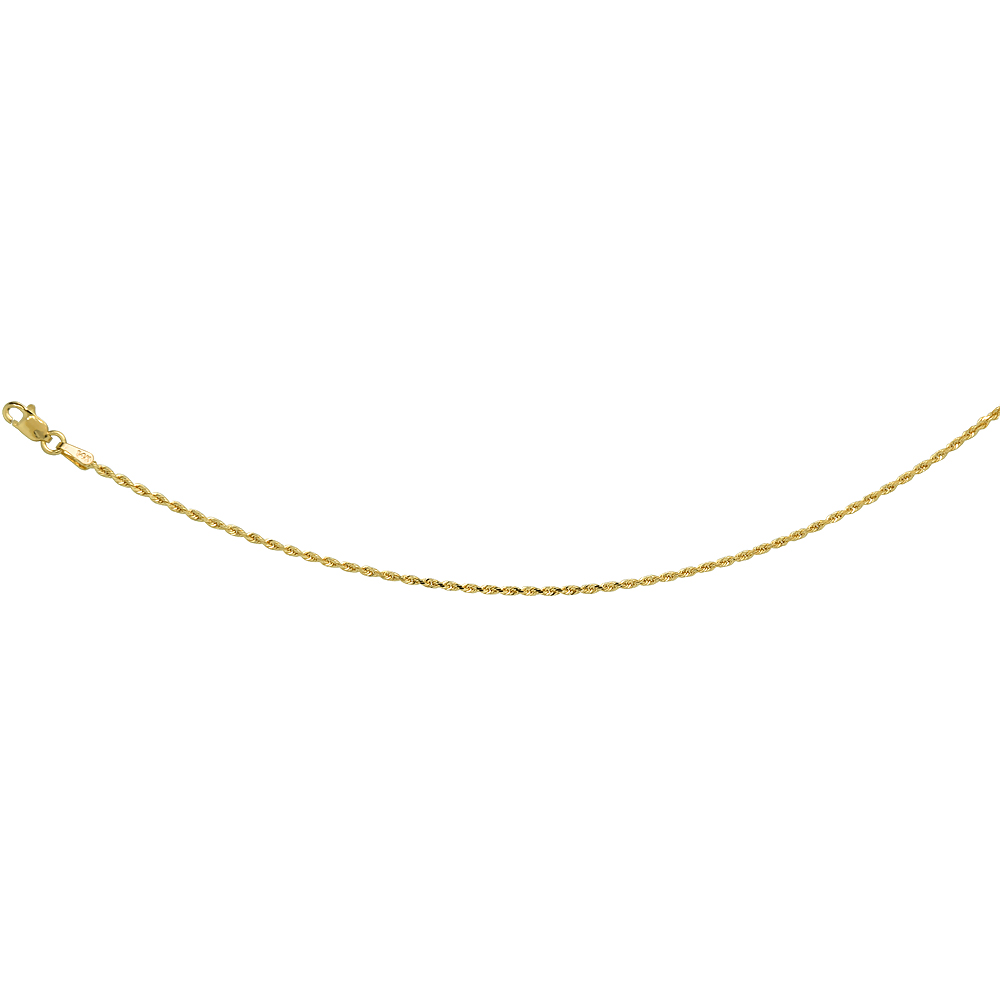 14K Solid Yellow Gold ROPE Chain Necklace Diamond Cut 1.5 - 4 mm Nickel Free, 16 - 30 inches long