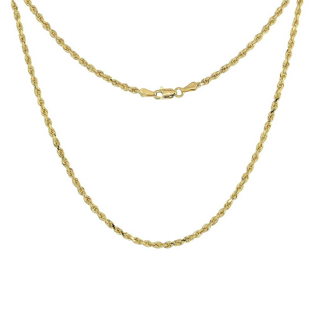 Solid Yellow 14K Gold Rope Chain Necklace 1.5 mm - 4mm Diamond-Cut Assorted Lengths Available