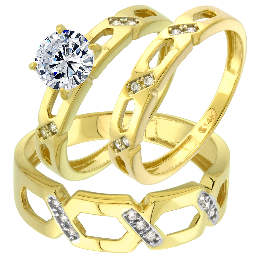 14k Yellow Gold CZ Trio Engagement Wedding Ring Set 3 Piece CrissCross Round Brilliant cut 7mm, size 5-10