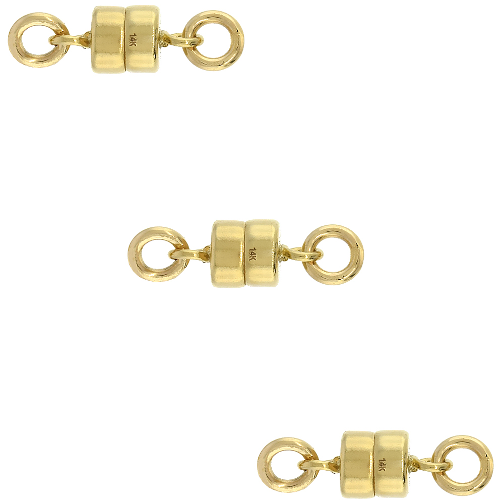 3 PACK, 14k Gold 4 mm Magnetic Clasp for Light Necklaces USA, Square Edge