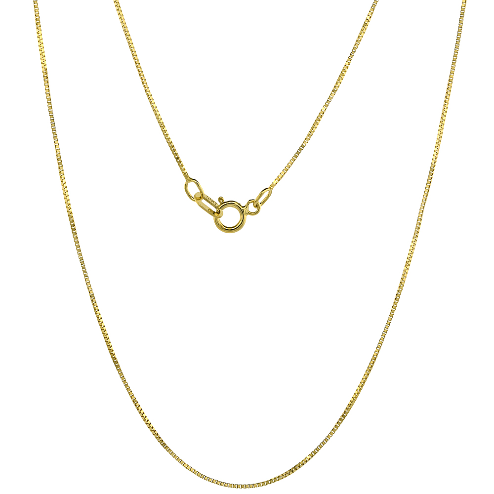 10K Solid Yellow Gold Box Chain Necklaces 0.6 mm Nickel Free, 16 - 24 inches long