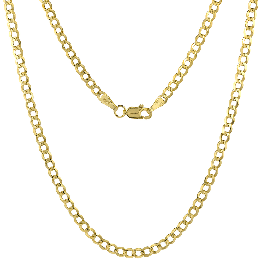 10K Yellow Gold Curb Link Chain Necklace Concaved Beveled Edges 3.1mm 18 - 28 inch