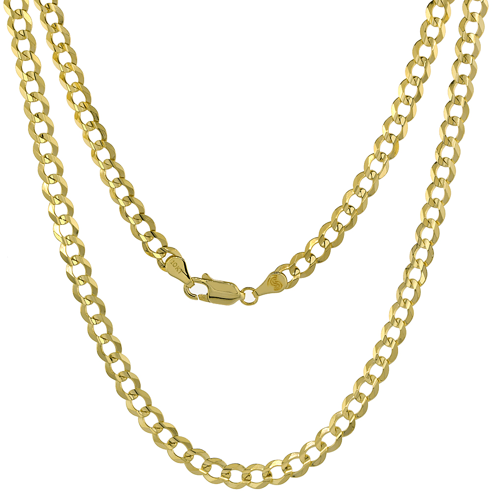 10K Yellow Gold Curb Link Chain Necklace Concaved Beveled Edges 4.8mm 20 - 30 inch