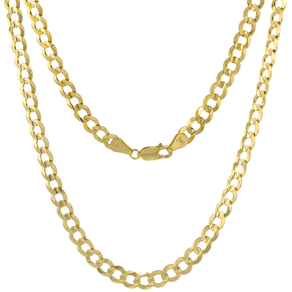 10K Yellow Gold Curb Link Chain Necklace Concaved Beveled Edges 5.7mm 20 - 30 inch