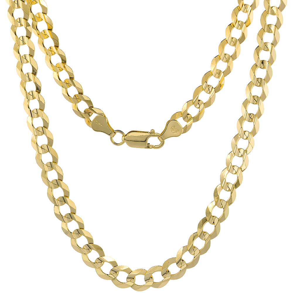 10K Yellow Gold Curb Link Chain Necklace Concaved Beveled Edges 7.3mm 20 - 30 inch