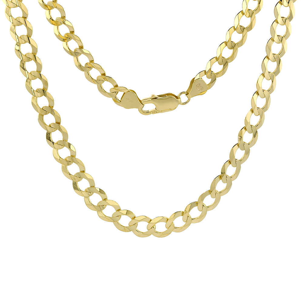 10K Yellow Gold Curb Link Chain Necklace Concaved Beveled Edges 8.4mm 22 - 30 inch