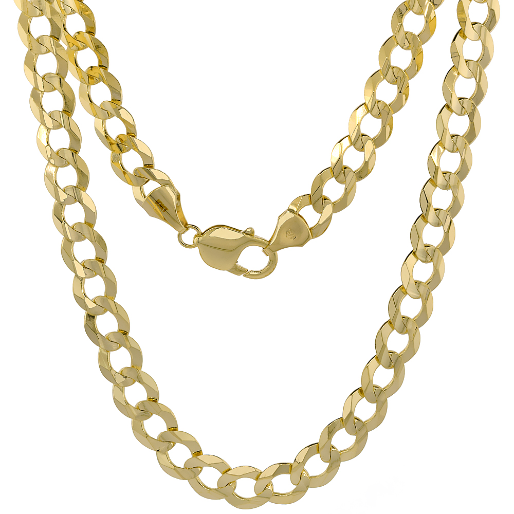 10K Yellow Gold Curb Link Chain Necklace Concaved Beveled Edges 9.6mm 22 - 30 inch