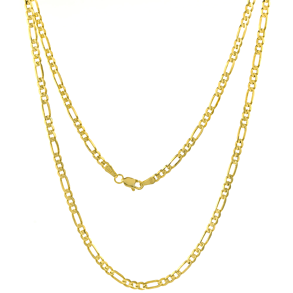10K Solid Yellow Gold Figaro Chain Necklace Concave 3.06 mm Nickel Free, 18 - 28 inches long