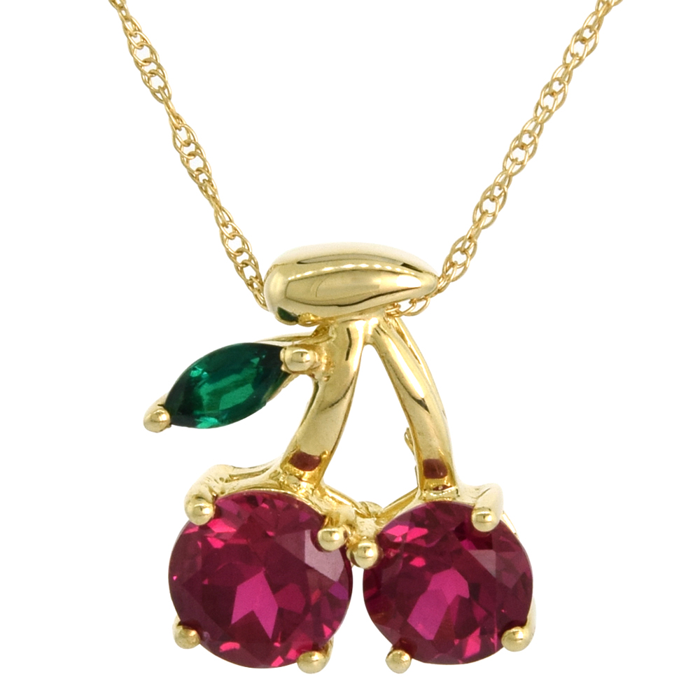 10k Gold Cherry Necklace Lab Created Ruby & Emerald Stones 18 In. Chain 1/2 Inch Tall