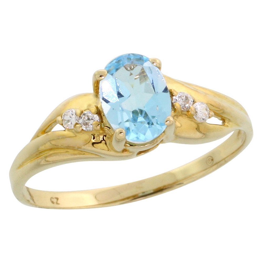 Dainty 10k Gold Oval Blue Topaz Ring for Women and Girls CZ Accent 3/8 inch