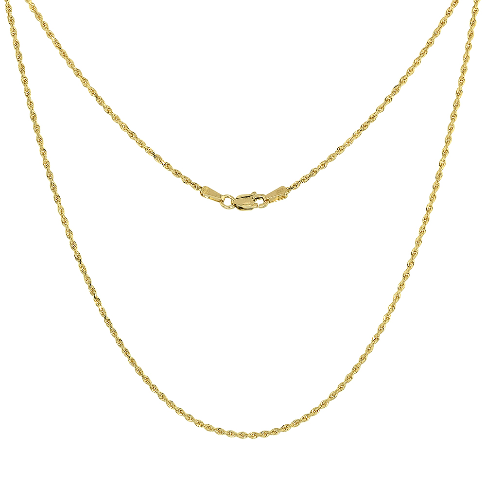 Solid Yellow 10K Gold Rope Chain Necklace 1.5 mm - 4mm Diamond-Cut Assorted Lengths Available