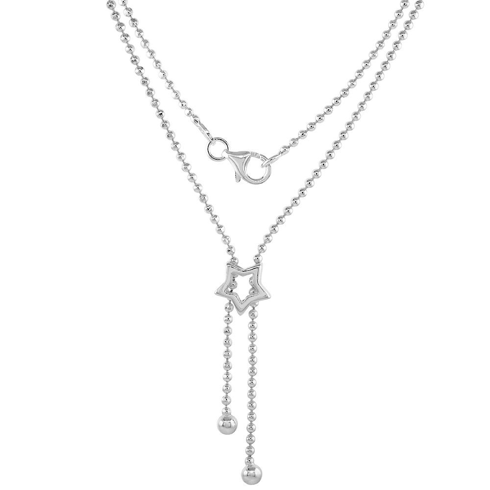 Sterling Silver Lariat Necklace / Bracelet with Star Charm, sizes 7 & 17 inch