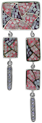 Sterling Silver Natural Shell Mosaic Rectangular Chandelier Pendant CZ Accent, 7/8 inch wide