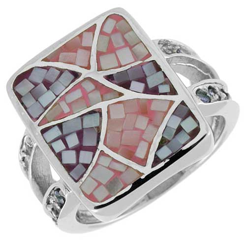 Sterling Silver Natural Shell Mosaic Rectangular Chandelier Ring CZ Accent, 5/8 inch wide