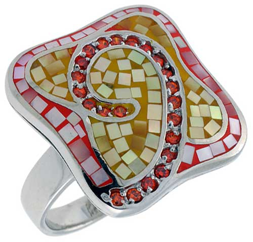 Sterling Silver Natural Shell Mosaic Quatrefoil Ring CZ Accent, 1 1/8 inch wide