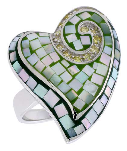 Sterling Silver Natural Shell Mosaic Heart Ring CZ Accent, 29/32 inch wide