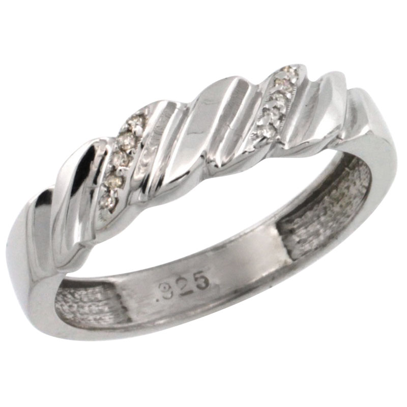 size 10.5 Sterling Silver Mens Diamond Wedding Ring Band w// 0.063 Carat Brilliant Cut Diamonds 3//16 in. wide 5mm