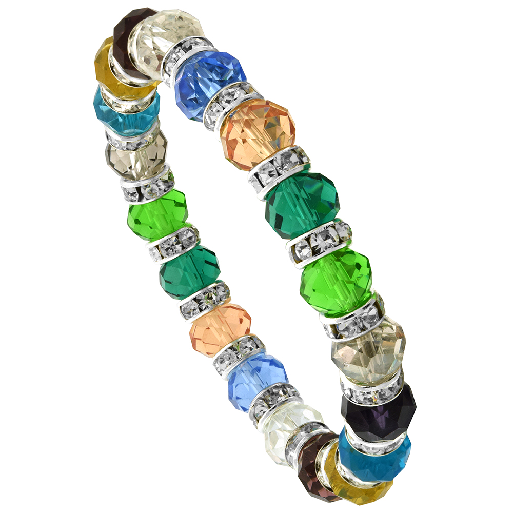 7 in. Multi Color Faceted Glass Crystal Bracelet on Elastic Nylon Strand ( Clear, Ruby, Citrine, Blue Topaz, Smoky Topaz, Perido