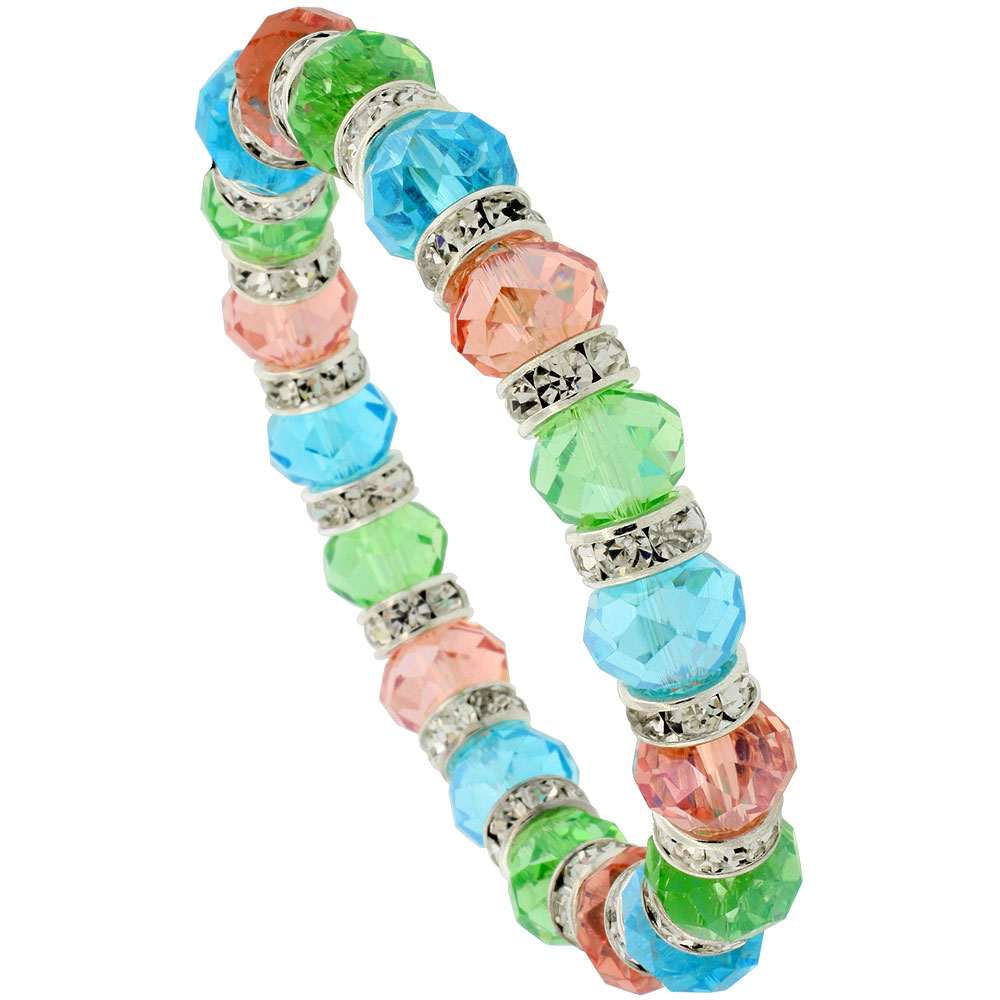 7 in. Multi Color Faceted Glass Crystal Bracelet on Elastic Nylon Strand ( Aquamarine, Peridot & Pink Tourmaline Color ), 3/8 in. (10 mm) wide