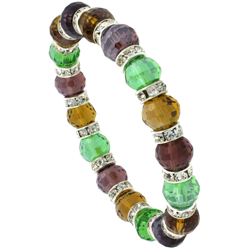 7 in. Multi Color Faceted Glass Crystal Bracelet on Elastic Nylon Strand ( Garnet, Amber, Peridot & Citrine Color ), 3/8 in. (10 mm) wide