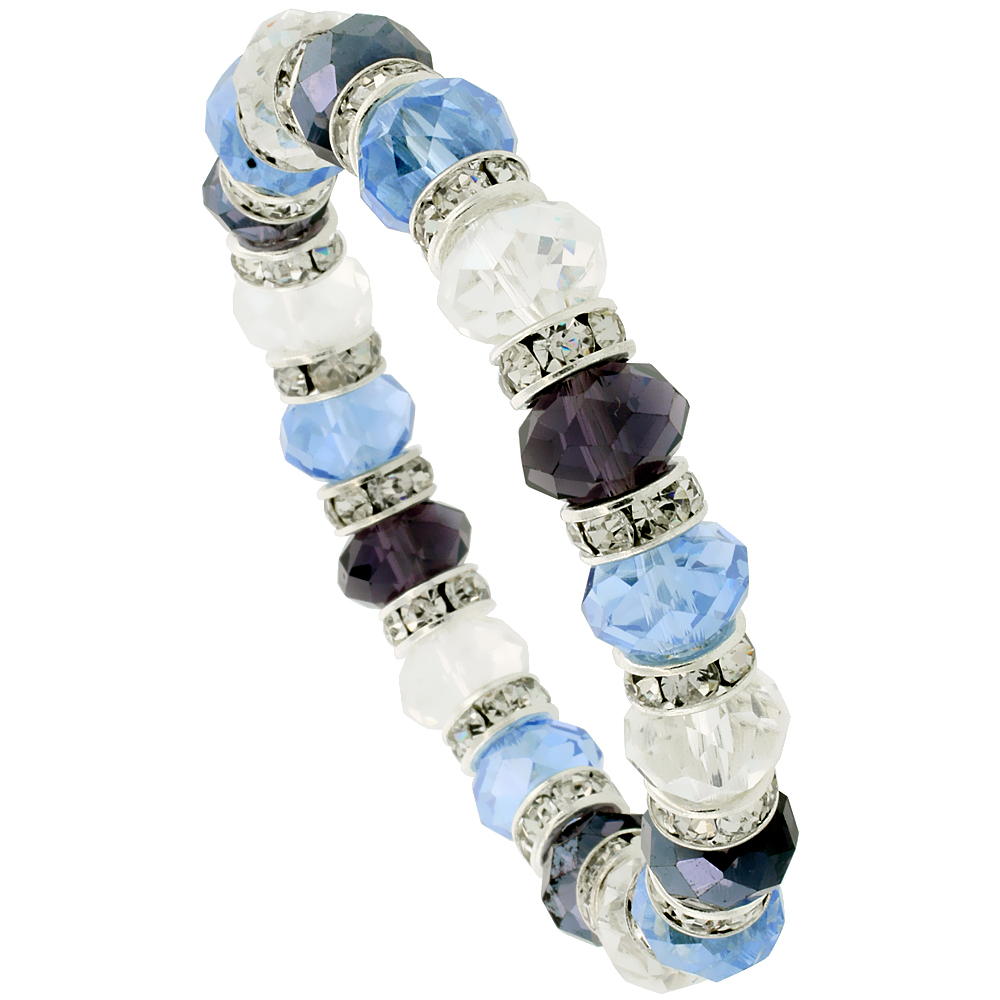 7 in. Multi Color Faceted Glass Crystal Bracelet on Elastic Nylon Strand ( Clear, Blue Topaz & Amethyst Color ), 3/8 in. (10 mm)