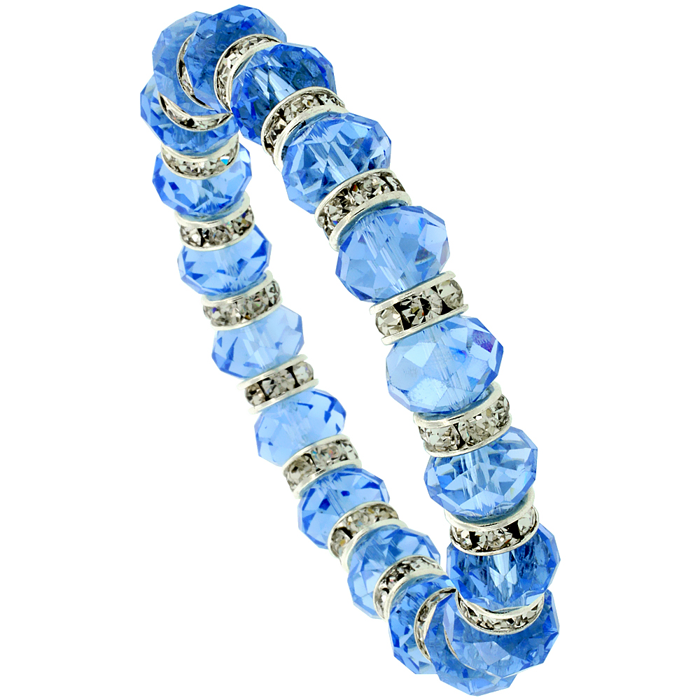 7 in. Blue Topaz Color Faceted Glass Crystal Bracelet on Elastic Nylon Strand, 3/8 in. (10 mm) wide