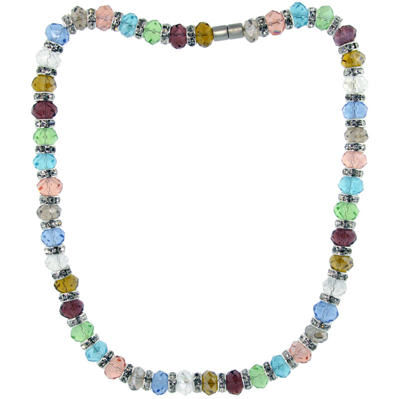 18 in. Multi Color Faceted Glass Crystal Necklace on Elastic Nylon Strand ( Clear, Garnet, Citrine, Blue Topaz, Smoky Topaz, Peridot, Amethyst, Pink Tourmaline & Tanzanite Color ), 3/8 in. (10 mm) wide