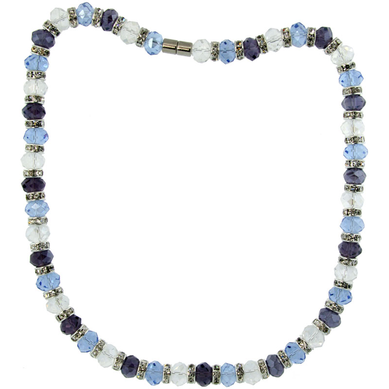 18 in. Multi Color Faceted Glass Crystal Necklace on Elastic Nylon Strand ( Clear, Blue Topaz & Amethyst Color ), 3/8 in. (10 mm) wide