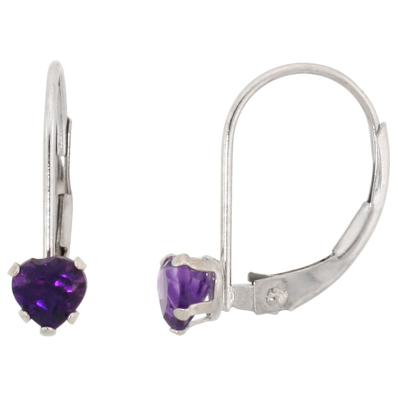 10k White Gold Natural Amethyst Heart Leverback Earrings 4mm February Birthstone, 9/16 inch tall