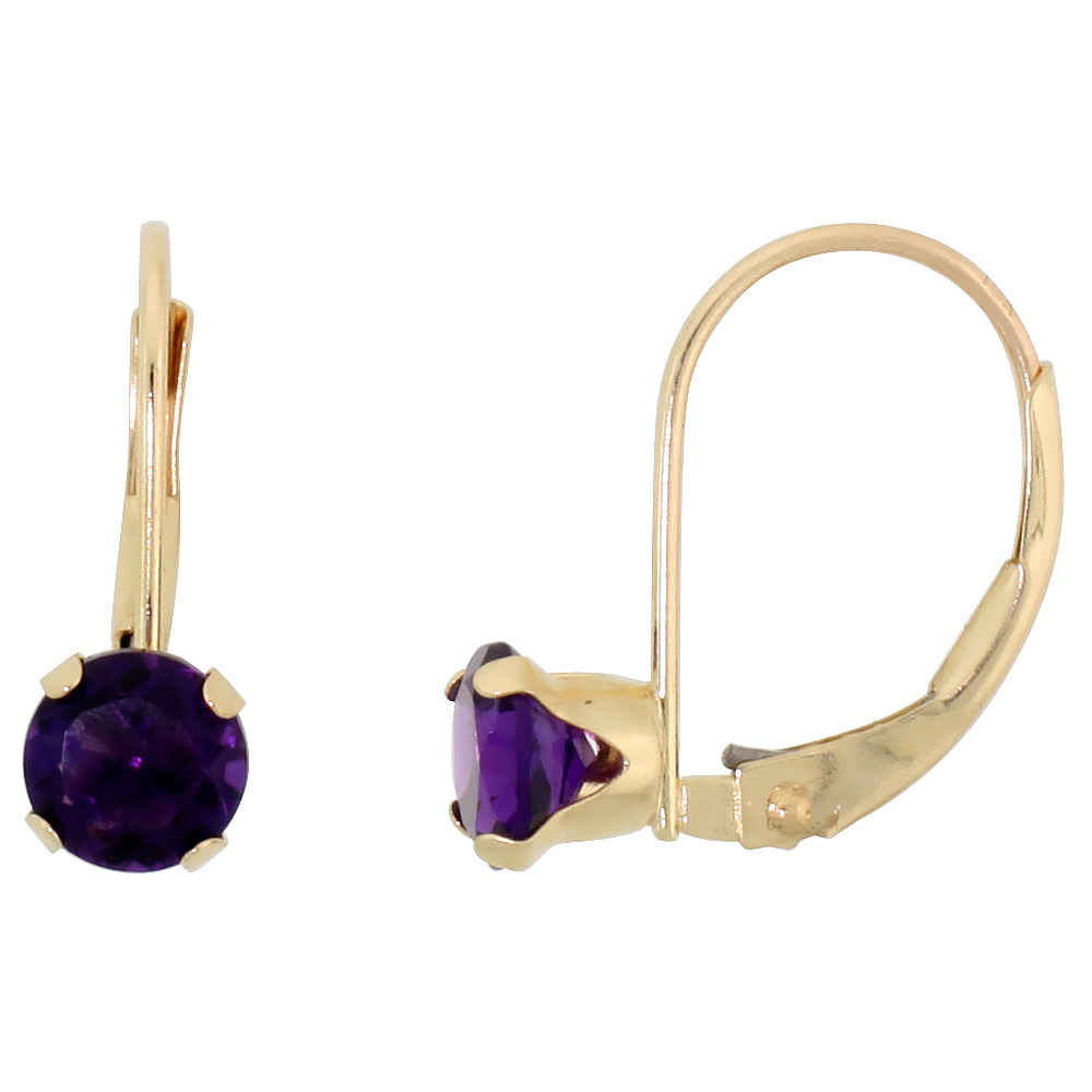 10k Yellow Gold Natural Amethyst Leverback Earrings 5mm Brilliant Cut February Birthstone, 9/16 inch long