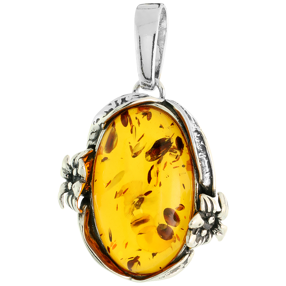 """Sterling Silver Floral Russian Baltic Amber Pendant w/ 25x14mm Oval-shaped Cabochon Cut Stone, 1 3/16"""" (30 mm) tall"""