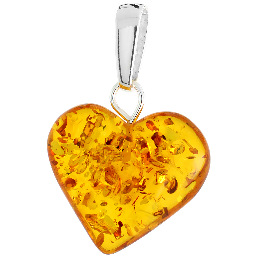 Amber pendants sterling silver heart russian baltic amber pendant w 20x22mm stone 1516 aloadofball Images