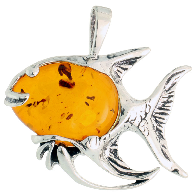"Sterling Silver Fish Russian Baltic Amber Pendant w/ Cabochon Cut Stone, 1 1/4"" (31 mm) tall"