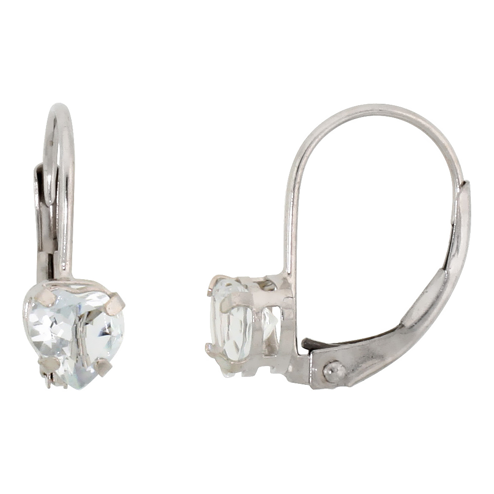 10k White Gold Natural Aquamarine Heart Leverback Earrings 5mm March Birthstone, 9/16 inch long