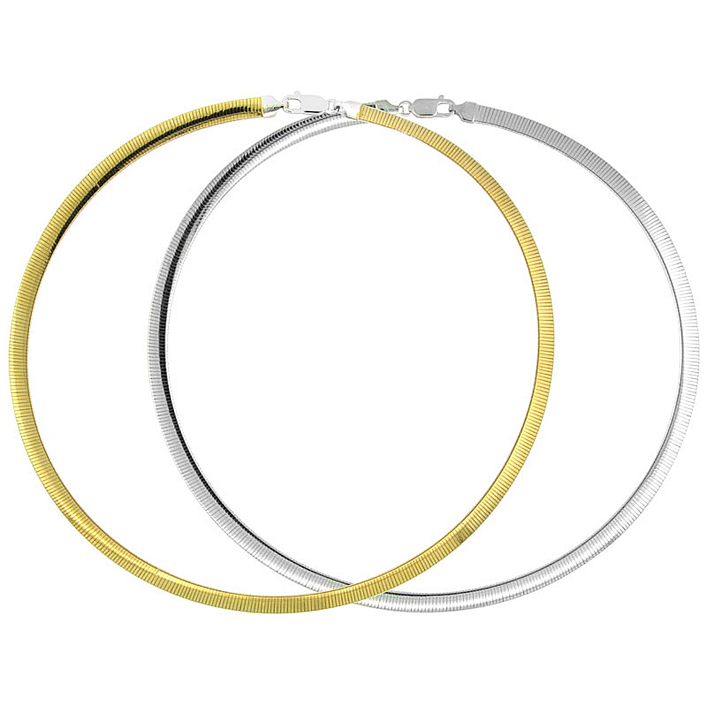 Sterling Silver 2-Tone Double-Sided 6.0 mm Omega Chain Necklace, Gold Finish on 1 Side