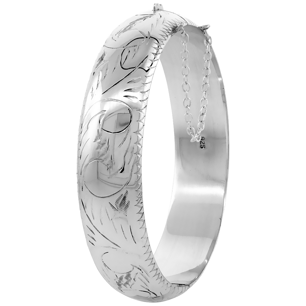 Sterling Silver Bangle Bracelet Floral Engraving Safety Chain Thick 5/8 inch wide