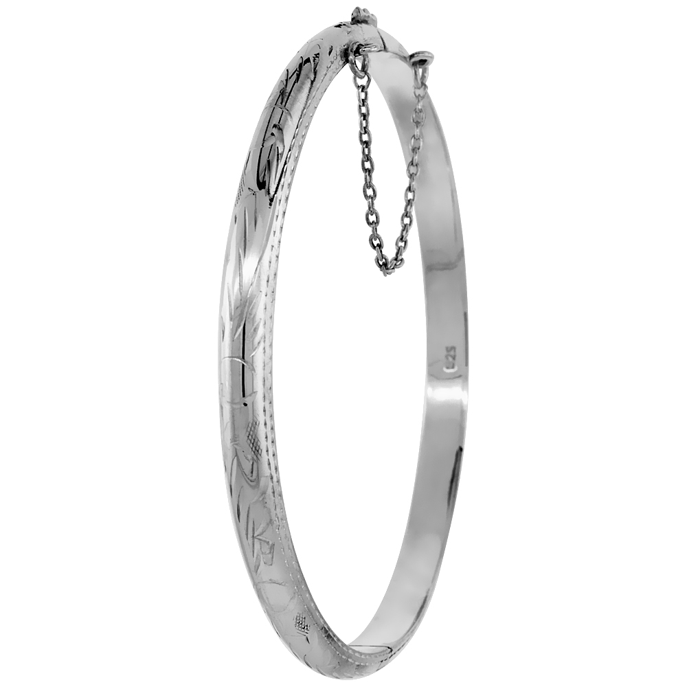 Sterling Silver Bangle Bracelet Floral Engraving Safety Chain Thin 3/16 inch wide