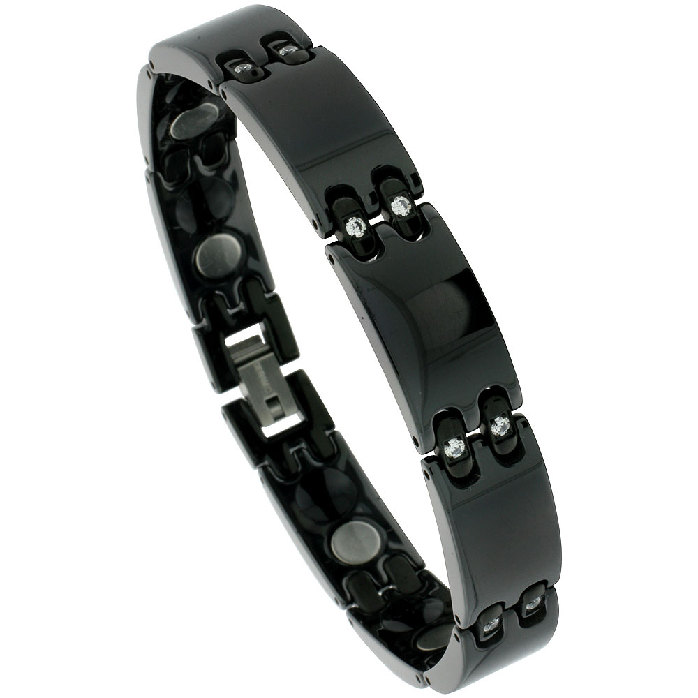 Ceramic Black Magnetic Therapy Bar Bracelet Cubic Zirconia Stones, 1/2 inch wide,