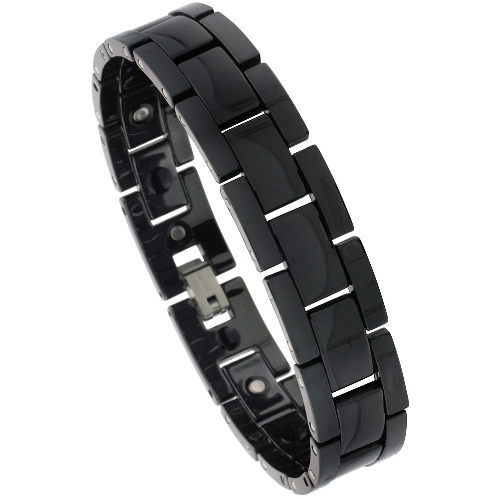 Ceramic Black Bracelet Magnetic Therapy H Links, 7/16 inch wide,