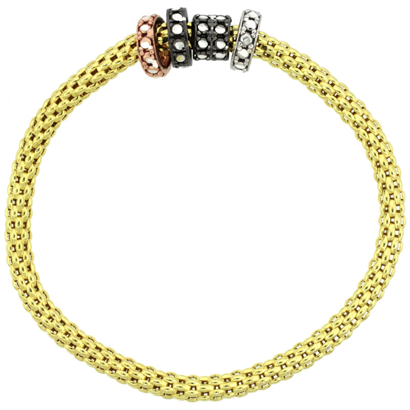 Sterling Silver Stretch Bangle Bracelet Yellow Gold Finish Tri-Color Circle Bead Charm Accents, 3/16 inch wide