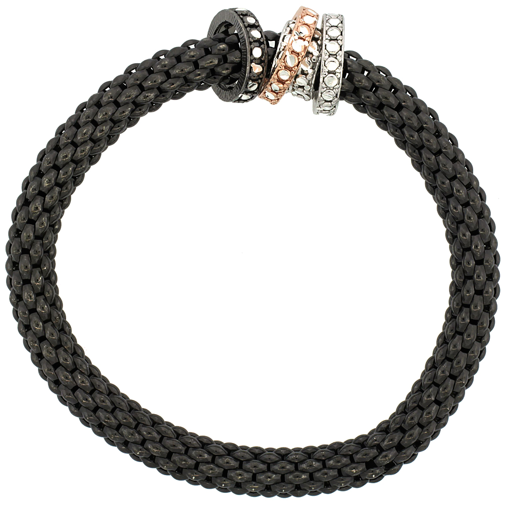Sterling Silver Stretch Bangle Bracelet Black Ruthenium Finish Tri-Color Circle Bead Charm Accents, 9/32 inch wide