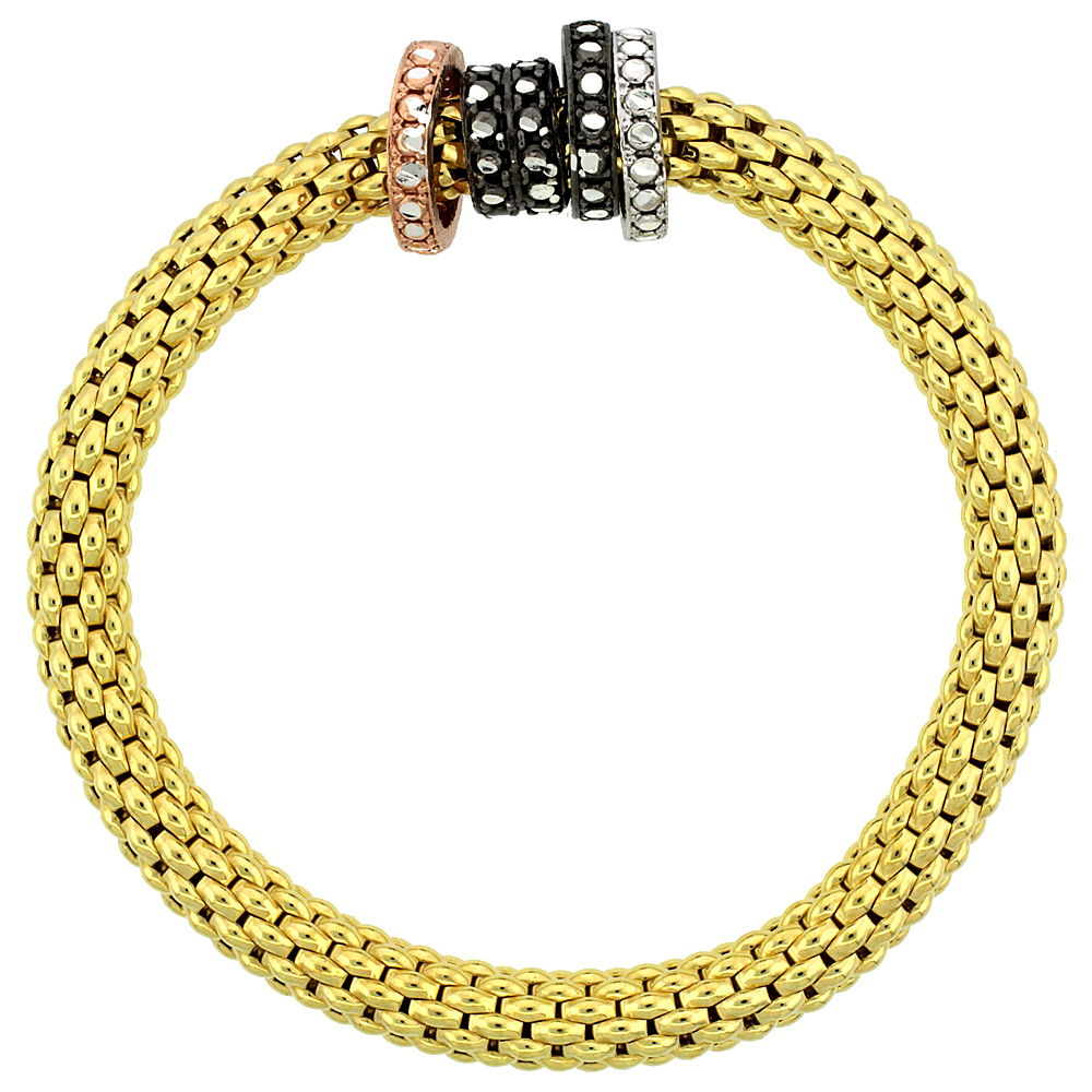 Sterling Silver Stretch Bangle Bracelet Yellow Gold Finish Tri-Color Circle Bead Charm Accents, 9/32 inch wide